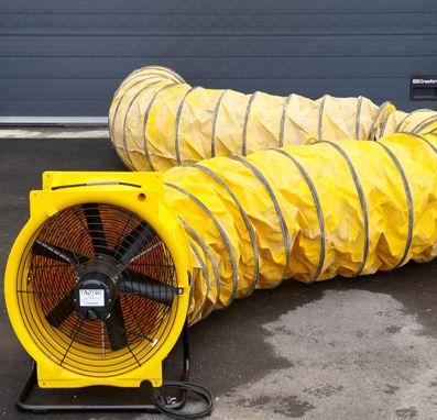 Bouwdroger - TTV 7000 – Ventilator in combinatie met luchttransportslang van 7,6 m